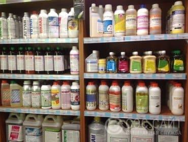 Фото стеллажа с препаратами для уничтожения тараканов
